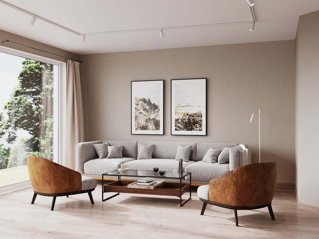 Дизайн гостиной - немецкий минимализм